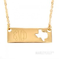Monogrammed Golden State Name Plate Necklace | Marleylilly