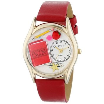 SheilaShrubs.com: Women's English Teacher Red Leather Watch8 C-0640008 by Whimsical Watches: Watches