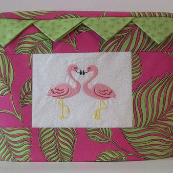 Two Slice Toaster Cover, Tropical Print with Flamingos