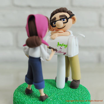 Carl and Ellie from 'Up' custom wedding cake topper