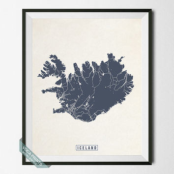 Iceland Print, Iceland Map, Iceland Poster, Europe Map, Europe Print, Street Map, Home Decor, Wall Decor, Wall Art
