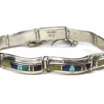 Vintage Navajo Inlay Link Bracelet Sterling 7 Inches Signed Native American Bracelet