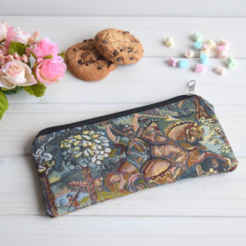 Pencil case with zipper, Pencil Pouch, Cosmetic pouch, Make Up Pouch, Charger bag, Project bag, Travel bag, Bridesmaid gift, Bridal purse
