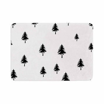 "Suzanne Carter ""Pine Tree"" Black White Memory Foam Bath Mat"