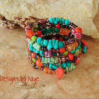Turquoise Jewelry, Turquoise Rustic Stone Bracelet, Colorful Southwest Jewelry, Tribal, Original Handmade Bohemian Designs by Kaye Kraus