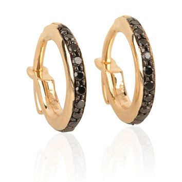 Adina Reyter Pave Huggie Hoops with black diamonds