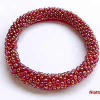 Red Iridescent Roll On Crochet Bracelet Bead Rope Niatta