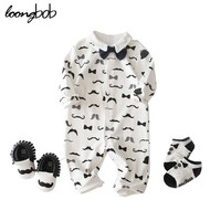 Newborn Baby Boy Rompers Cotton Tie Gentleman Suit Moustache Body Suit Clothing Toddler Jumpsuit Baby Boys Infantil Clothes