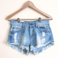 Evie Distressed High Waisted Light Denim Shorts