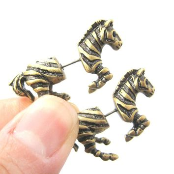 Fake Gauge Earrings: Zebra Horse Animal Shaped Stud Plug Earrings in Brass