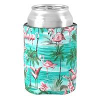 pretty pink flamingos can cooler