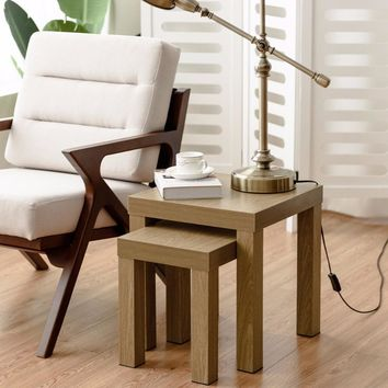2 Piece Nesting Coffee End / Side  Table Tables Wood Color Home Furniture
