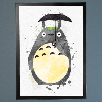 My Neighbor Totoro Watercolor Fine Art Print Wall Poster Home Decor  Painting Giclee Il