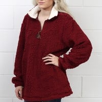Snuggle is Real Sherpa Pullover w/ Pockets {Burgundy}