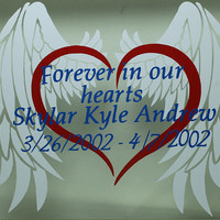 Forever in our hearts Custom Memorial Vinyl sticker Remembrance Decal Angel wings and broken heart