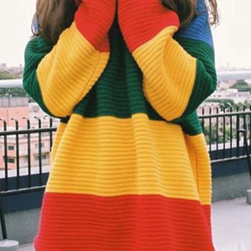 Multi Color Stripe Print Pullover Sweater