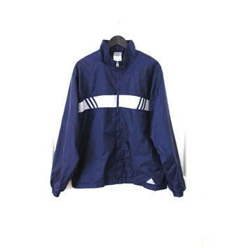 vtg ADIDAS windbreaker early 90s vintage navy + white classic relaxed fit UNISEX light