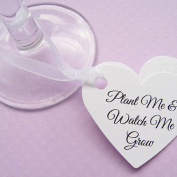 50 Personalised Heart Seed Favours - Plantable Custom Tags - Wedding, Favour, Table Decor
