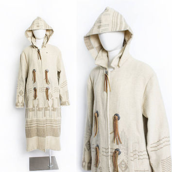Vintage 1980s WoolRich Coat - HOODED Wool Beige South West Blanket Jacket 80s - Medium / Large