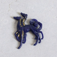 Vintage 1940s Purple Afgan Dog Plastic Brooch