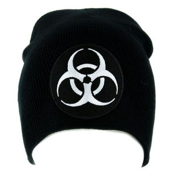 ac spbest Toxic White Biohazard Sign Beanie Knit Cap Horror Clothing Zombie Apocalypse