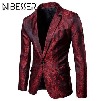 NIBESSER Brand Men Blazer Fashion Floral Slim Fit Suits & Blazers Autumn Casual Single Button Purple Mens Wedding Suit Jacket