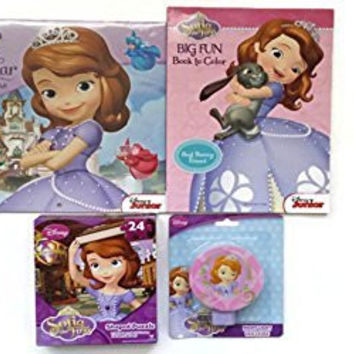 Disney Sofia the First 4 Piece Bundle 12 Month 2015 Calendar 24 Piece Shaped Puzzle Big Fun Coloring Book & Nightlight (Puzzle and Nightlight Styles Vary