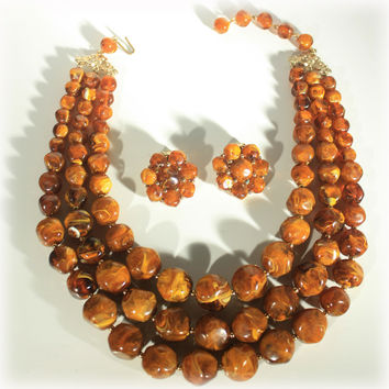 Brown Agate Multi Strand Necklace Earrings Set