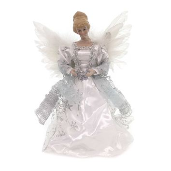 Christmas WHITE ANGEL TREETOPPER Fabric Wings Holiday 30536 Blue
