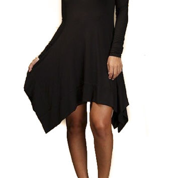 Black Witchy Asymmetrical Long Sleeve Dress