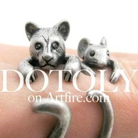 3D Kitty Cat Animal Wrap Around Ring in Silver in US Size 5 to Size 9