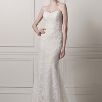 Strapless Lace Sheath Gown with Pearl Beading - David's Bridal