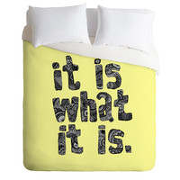 Romi Vega What It Is Yellow Duvet Cover