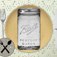 Mason Jar Ball Inspired Gray Cute Canning Glass Custom Rubber Tough Phone Case For The iPhone 4 and 4s and iPhone 5 and 5s and 5c