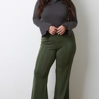 High Waisted Pinstriped Bell Bottom Pants