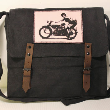 Vintage Black Medic Bag with Motor Lady Patch - Free Shipping