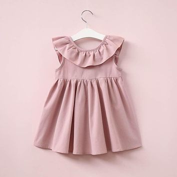 Ruffles Baby Kids Girls Backless Dress Toddler Princess Party Summer Bow Dresses