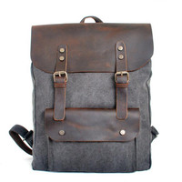 Genuine Leather Canvas Backpack Men Military Tactical Backpack