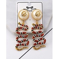 "Hot Sale ""GUCCI"" Popular Women Delicate Pearl Red Crystal Snake Pendant Earrings Accessories Jewelry"