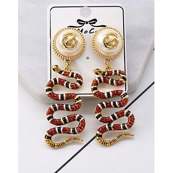 """Hot Sale """"GUCCI"""" Popular Women Delicate Pearl Red Crystal Snake Pendant Earrings Accessories Jewelry"""