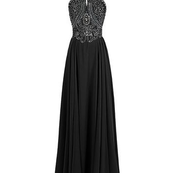 Dressystar Straps Sparkling Formal Gown Beading Prom Evening Dress Backless Size 2 Black