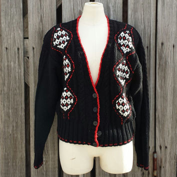 Vintage Women's Black Sweater Cardigan - Preppy Sweater - Liz Claiborne Hand Knit - SZ M