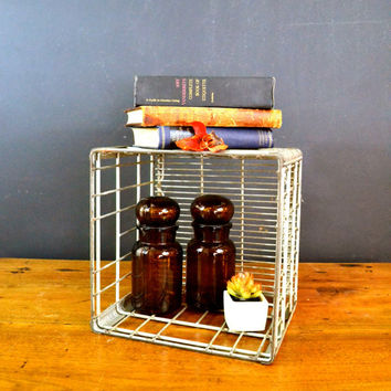 Vintage Metal Dairy Crate, Sanitary Dairy Co., Wire Milk Crate Bottle Basket, Industrial Decor, Metal Storage Box