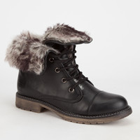 Dirty Laundry Razorbill Womens Combat Boots Black  In Sizes