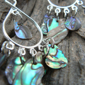 resort wear abalone chandelier earrings dangle tear drop hoops summer cruise gypsy boho hippie style