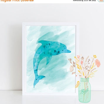 Blue Dolphin Print, Watercolor Texture, Dolphin Wall Art, Instant Download, Printable Art, Digital Printable,