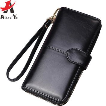 Women Wallets Long Dull Polish Leather Wallet dollar price Female Zipper Clutch Coin Purse