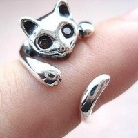 Cute 925 Sterling Silver Cat Ring for Women