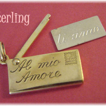 UnoAerre - Sterling Silver LOVE LETTER Envelope Charm Pendant - To My Love - I Love You - Italian