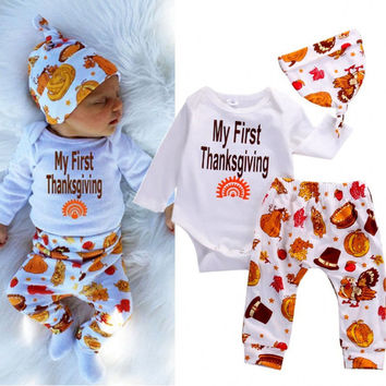 2016 Thanksgiving Newbonr Infant Baby Boys Girls Clothes Long Sleeve Cotton Romper Pants Leggings Hat 3PCS Outfit Clothing Set